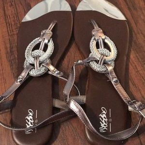 Never worn silver sandals